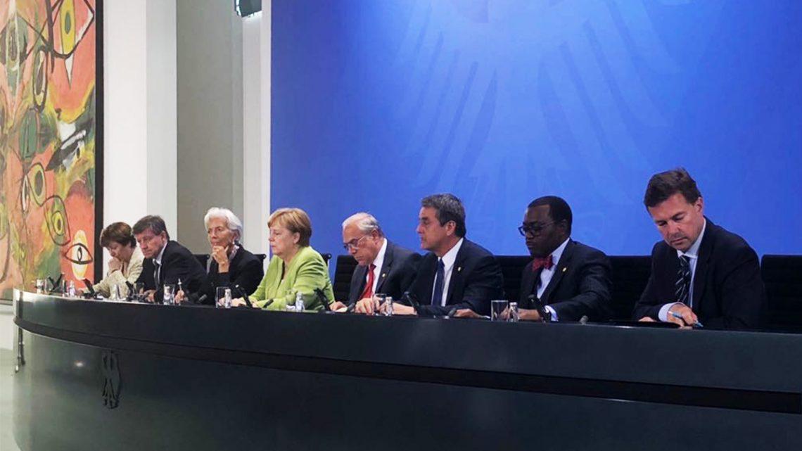Merkel y los jefes ejecutivos de seis organismos multilaterales hacen un llamamiento para una mayor cooperación mundial