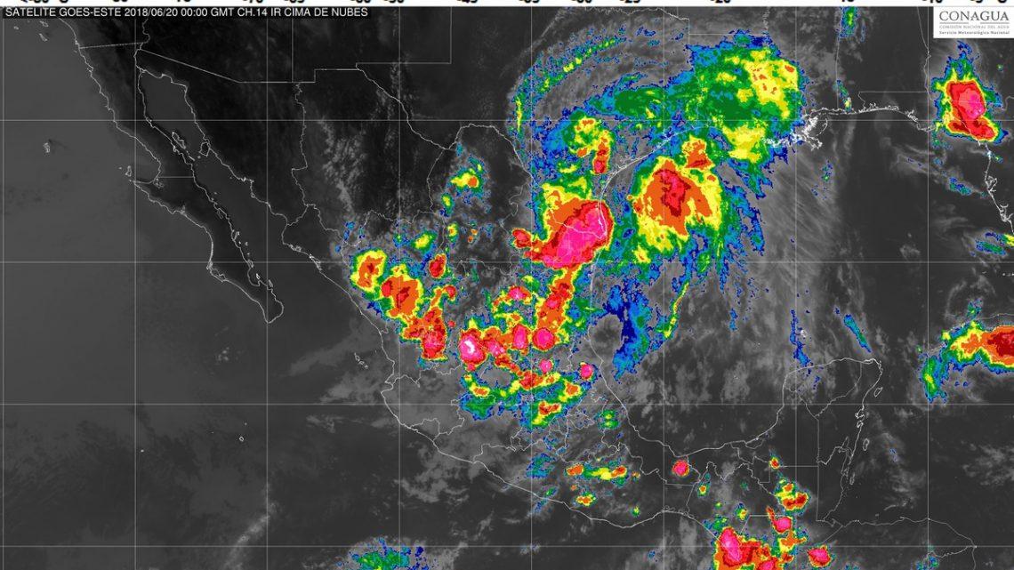 Se prevén tormentas intensas en regiones de Tamaulipas, y muy fuertes en otras ocho entidades de México