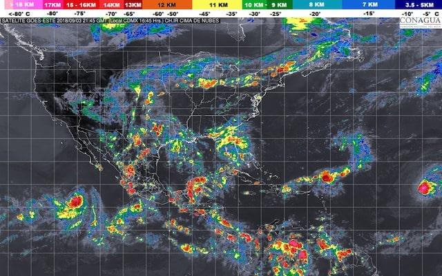 Para la tarde-noche se pronostican tormentas intensas en Chiapas y Oaxaca