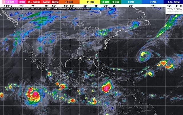 Prevén tormentas intensas en regiones de Puebla, Veracruz, Oaxaca y Chiapas