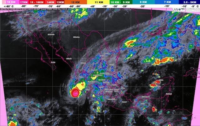Durante la noche de hoy se prevén tormentas muy fuertes en Jalisco, Colima, Michoacán y Chiapas