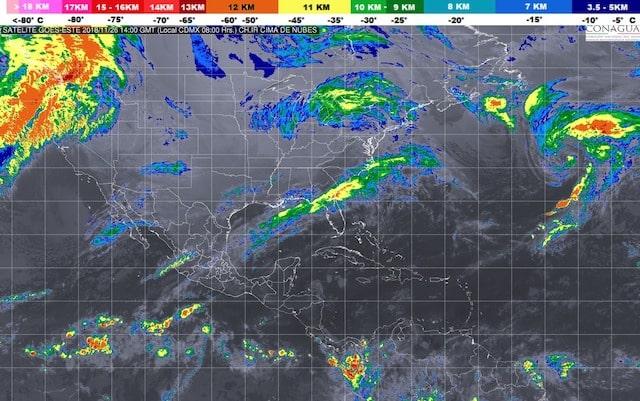 Hoy se prevén tormentas intensas en Veracruz, Tabasco, Oaxaca y Chiapas