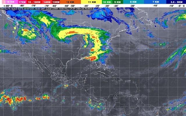 Se prevén tormentas fuertes en Guerrero y Oaxaca, y lluvias con chubascos en de Baja California, Sonora, Michoacán y Chiapas