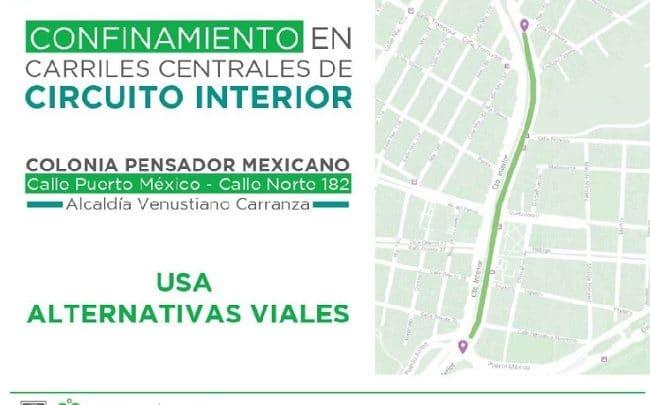 Reparación de hundimiento en los carriles centrales del circuito interior, en la colonia pensador mexicano