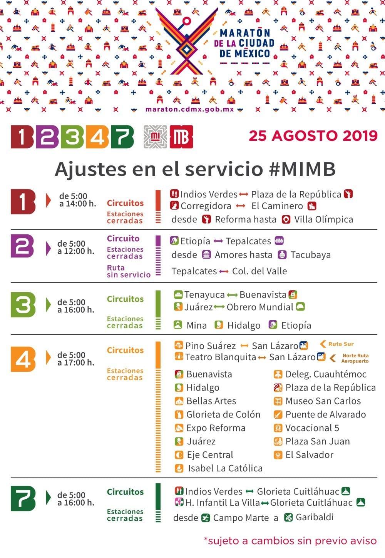 Cierres viales por el maratón de la CDMX metrobus