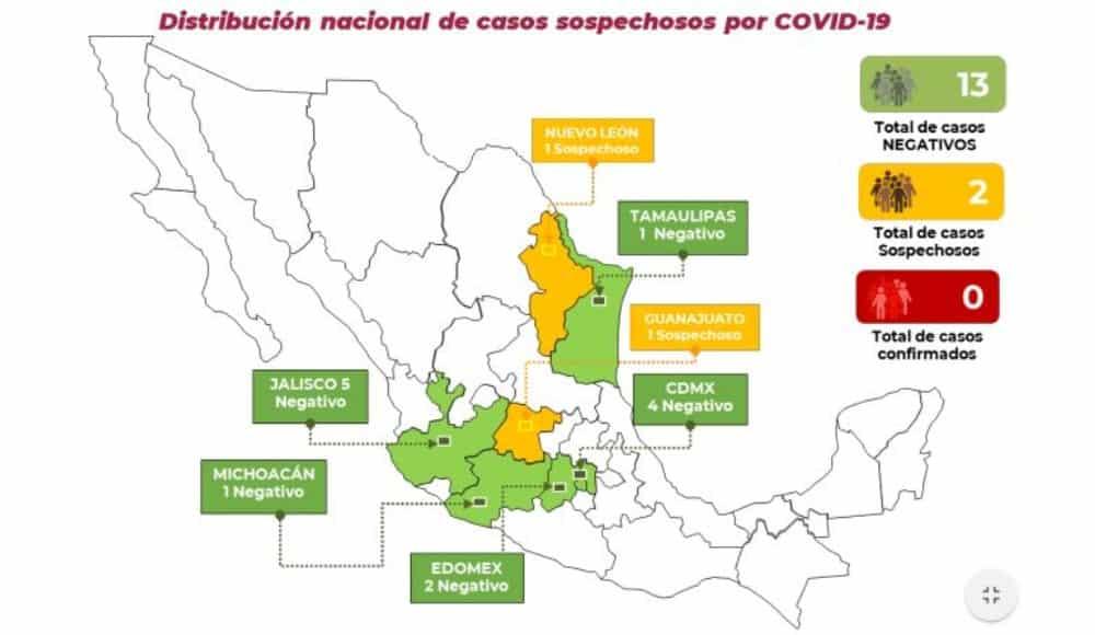 Reportan dos casos sospechosos de coronavirus COVID-19