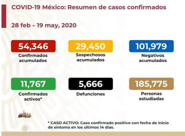 coronavirus en México al 19 de mayo nacional