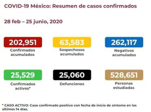 Coronavirus en México al 25 de junio nacional